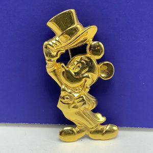 Mickey Mouse gold pin brooch pinback disney tophat